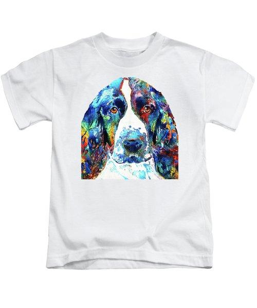 Colorful English Springer Spaniel Dog By Sharon Cummings Kids T-Shirt