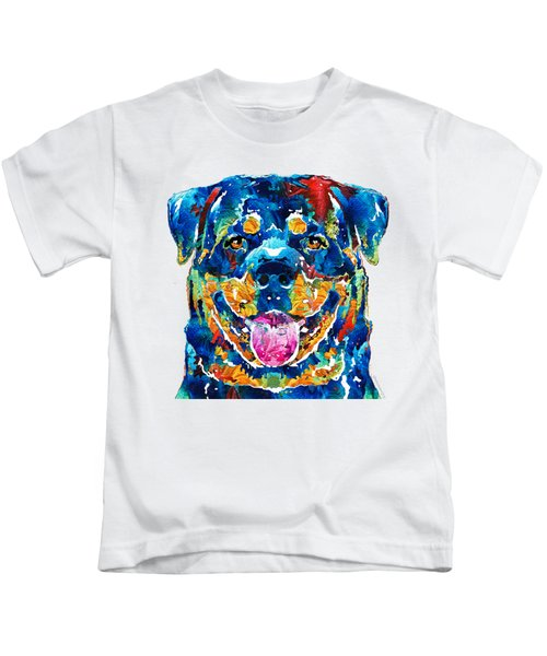 Colorful Rottie Art - Rottweiler By Sharon Cummings Kids T-Shirt