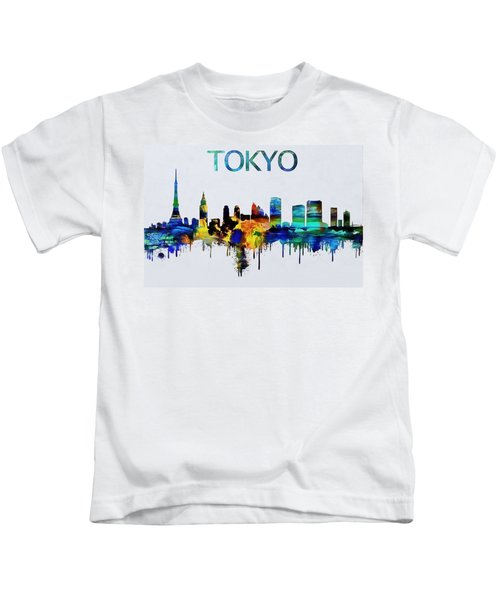 Colorful Tokyo Skyline Silhouette Kids T-Shirt by Dan Sproul