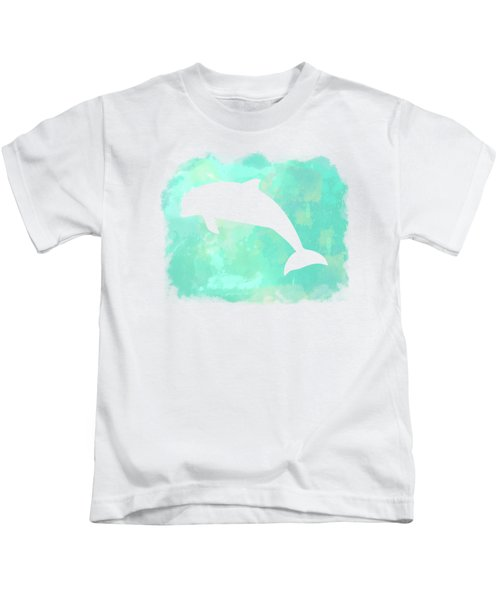 Colorful Watercolor Dolphin Sea Life Coastal Art Kids T-Shirt