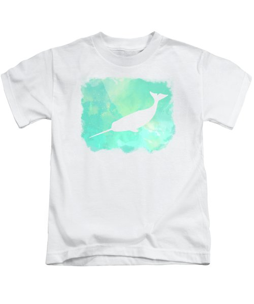 Colorful Watercolor Narwhal Sea Life Coastal Art Kids T-Shirt