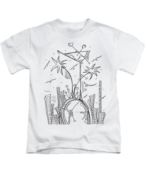 Coloring Page With Beautiful City Martini Drawing By Megan Duncanson Kids T-Shirt by Megan Duncanson