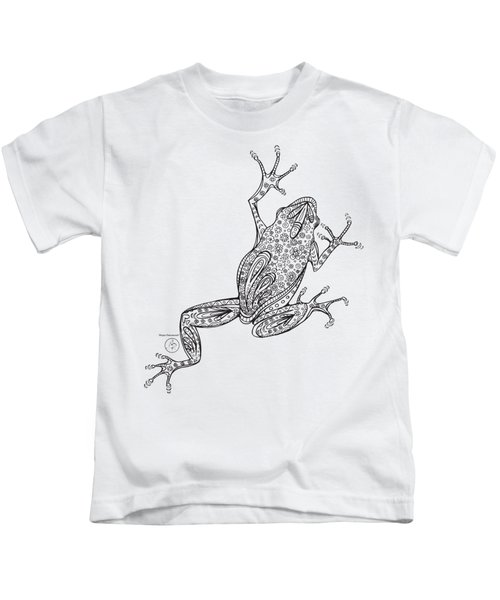 Coloring Page With Beautiful Frog Drawing By Megan Duncanson Kids T-Shirt by Megan Duncanson
