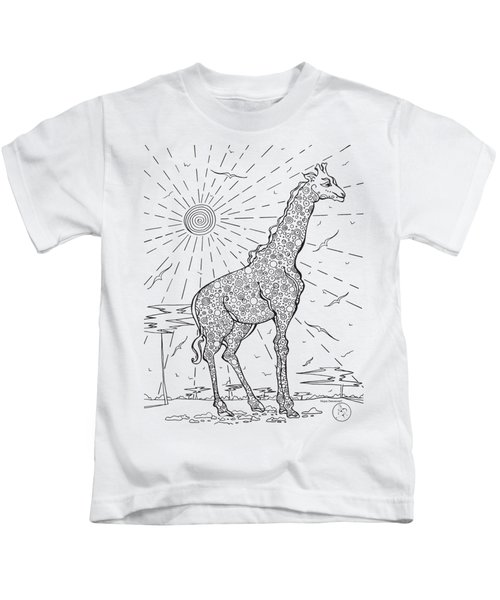 Coloring Page With Beautiful Giraffe Drawing By Megan Duncanson Kids T-Shirt by Megan Duncanson
