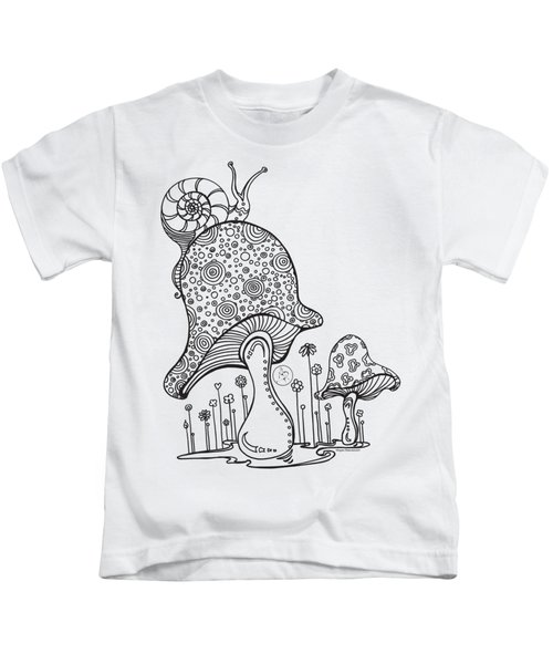 Coloring Page With Beautiful Mushroom And Snail Drawing By Megan Duncanson Kids T-Shirt by Megan Duncanson
