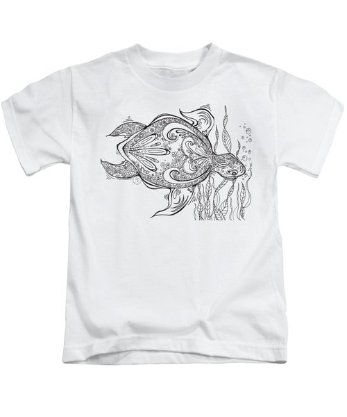 Coloring Page With Beautiful Turtle Drawing By Megan Duncanson Kids T-Shirt by Megan Duncanson