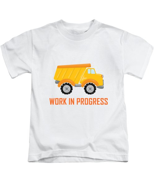 Construction Zone - Dump Truck Work In Progress Gifts - Yellow Background Kids T-Shirt