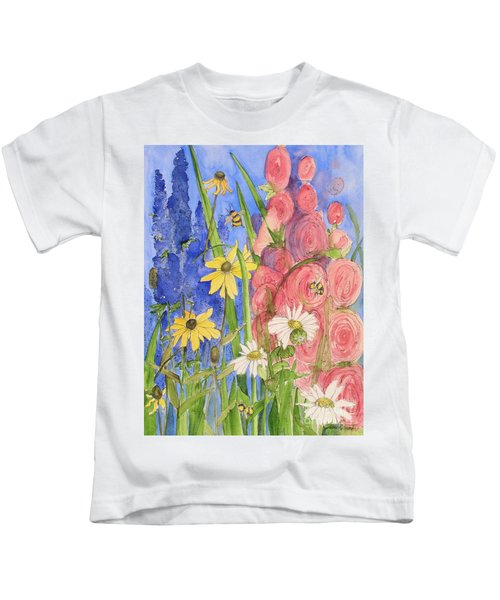 Cottage Garden Daisies And Blue Skies Kids T-Shirt