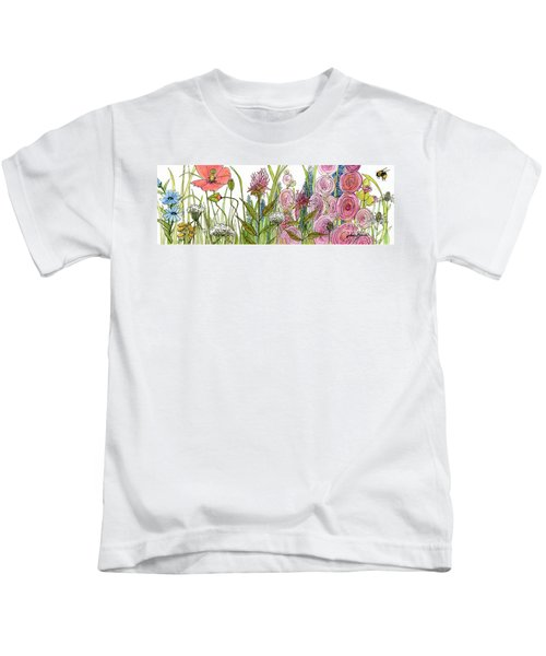 Cottage Hollyhock Garden Kids T-Shirt