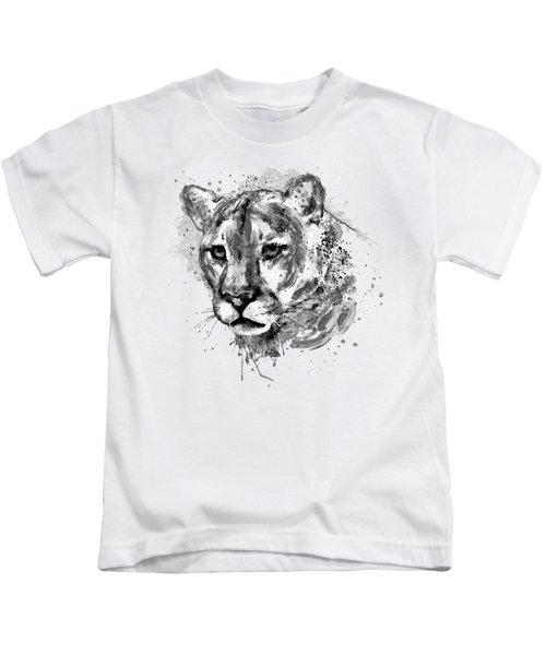 Cougar Head Black And White Kids T-Shirt