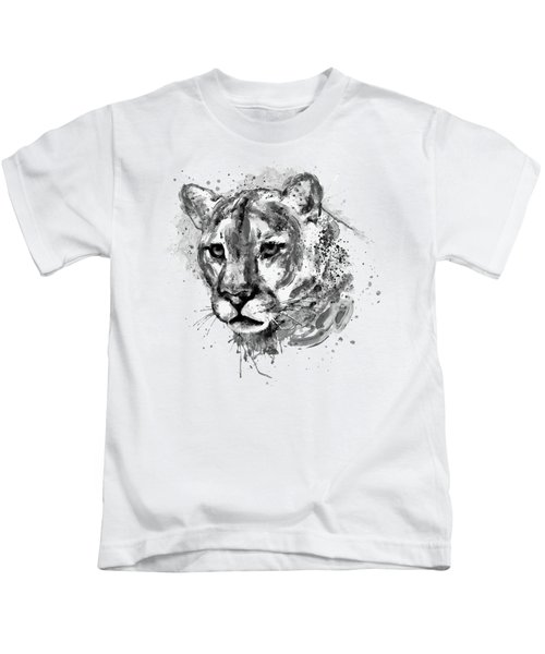 Cougar Head Black And White Kids T-Shirt