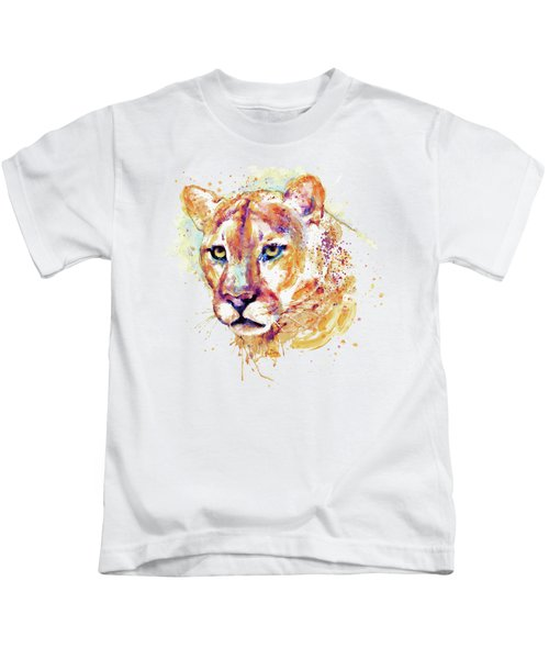 Cougar Head Kids T-Shirt by Marian Voicu