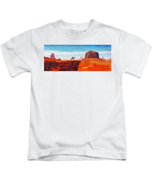 Cowboy At Monument Valley In Utah - Da Kids T-Shirt