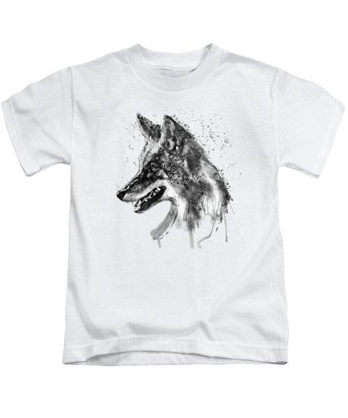 Coyote Head Black And White Kids T-Shirt