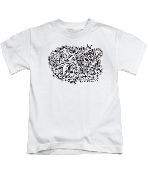 Crazy Doodle Monsters,doodle Drawing Style Kids T-Shirt