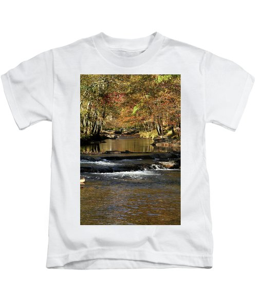 Creek Water Flowing Through Woods In Autumn Kids T-Shirt