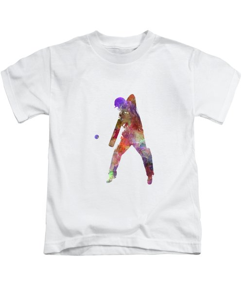 Cricket Player Batsman Silhouette 02 Kids T-Shirt by Pablo Romero