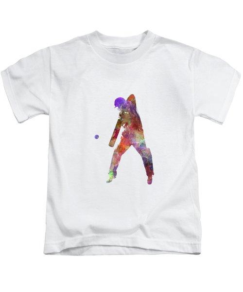 Cricket Player Batsman Silhouette 02 Kids T-Shirt by Pablo Romero