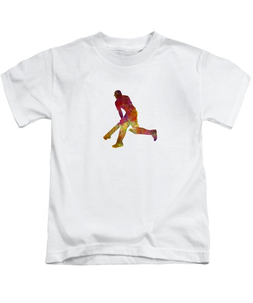 Cricket Player Batsman Silhouette 03 Kids T-Shirt by Pablo Romero