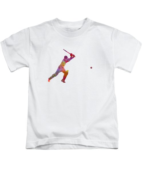Cricket Player Batsman Silhouette 04 Kids T-Shirt by Pablo Romero