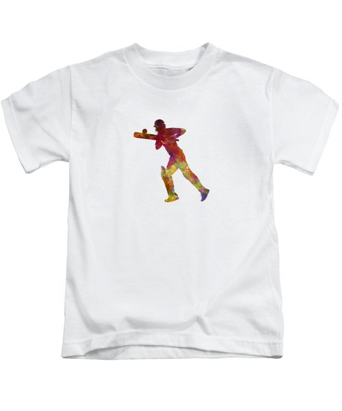 Cricket Player Batsman Silhouette 06 Kids T-Shirt by Pablo Romero