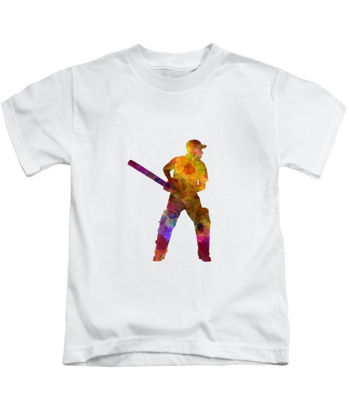 Cricket Player Batsman Silhouette 07 Kids T-Shirt by Pablo Romero