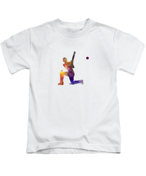 Cricket Player Batsman Silhouette 08 Kids T-Shirt by Pablo Romero
