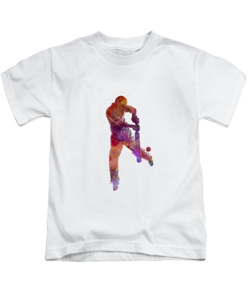 Cricket Player Batsman Silhoutte Kids T-Shirt by Pablo Romero