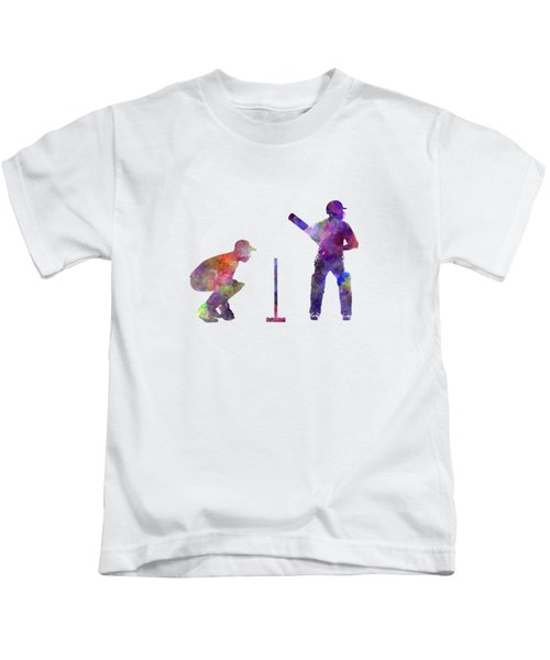 Cricket Player Silhouette Kids T-Shirt