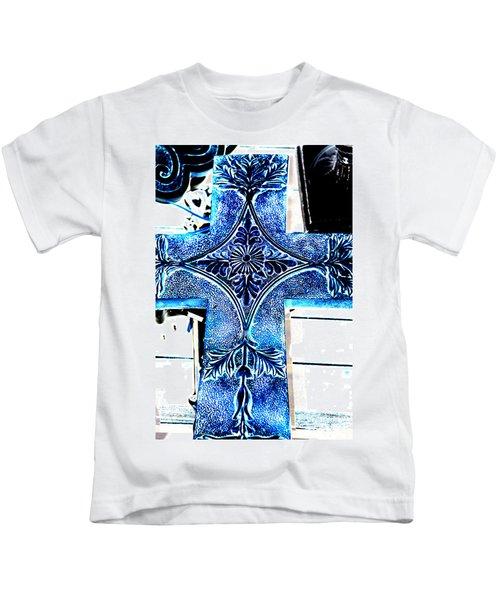 Cross In Blue Kids T-Shirt