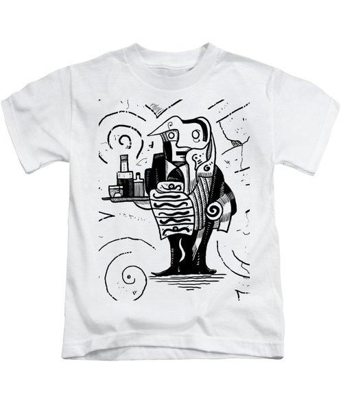 Cubist Waiter Kids T-Shirt by Sotuland Art