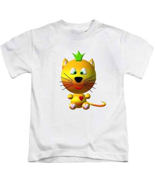 Cute Cat With Crown Kids T-Shirt