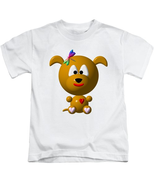 Cute Dog With Dragonfly Kids T-Shirt