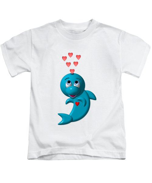 Cute Dolphin With Hearts Kids T-Shirt