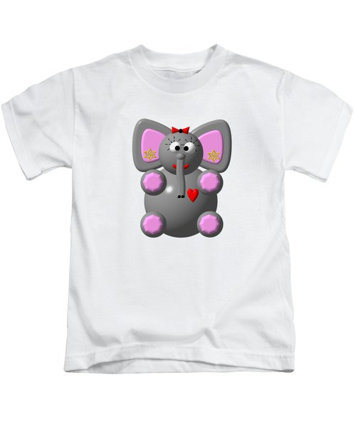 Cute Elephant Wearing Earrings Kids T-Shirt