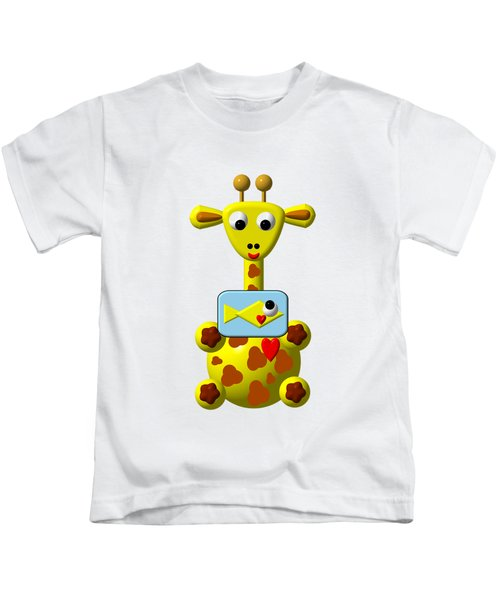 Cute Giraffe With Goldfish Kids T-Shirt