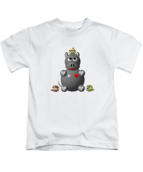 Cute Hippo With Hamsters Kids T-Shirt by Rose Santuci-Sofranko