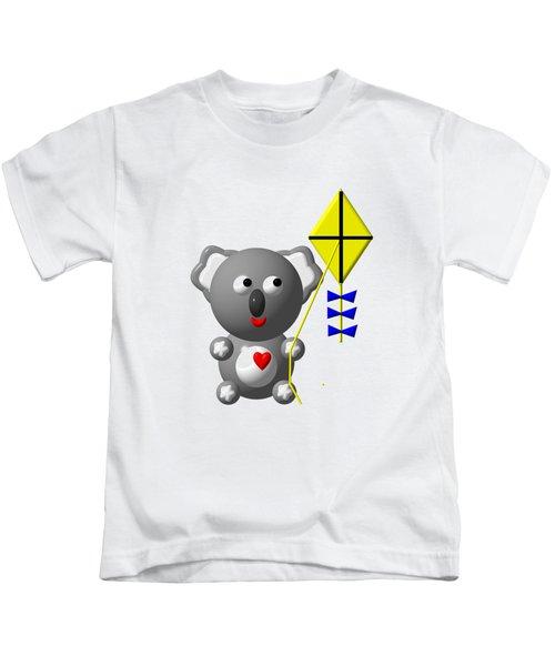 Cute Koala With Kite Kids T-Shirt by Rose Santuci-Sofranko