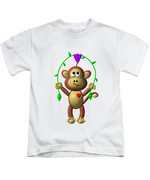 Cute Monkey Jumping Rope Kids T-Shirt by Rose Santuci-Sofranko