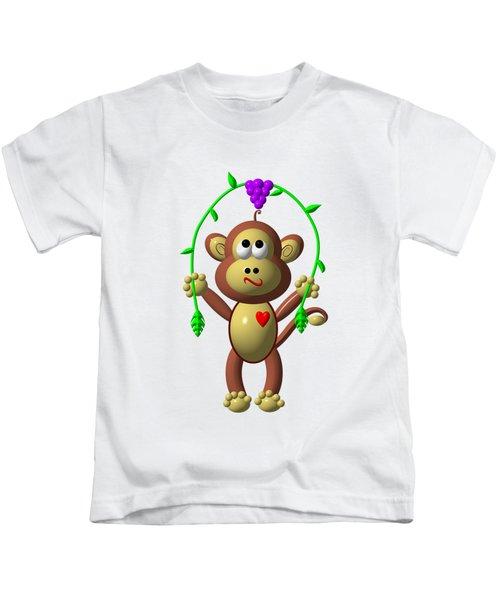 Cute Monkey Jumping Rope Kids T-Shirt