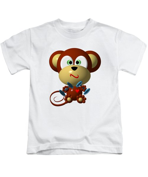 Cute Monkey Lifting Weights Kids T-Shirt by Rose Santuci-Sofranko