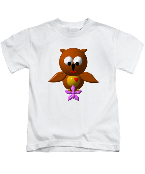 Cute Owl With Orchid Kids T-Shirt