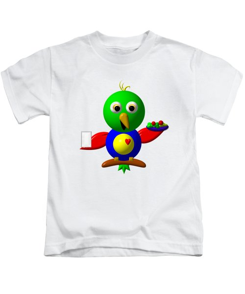 Cute Parrot With Healthy Salad And Milk Kids T-Shirt by Rose Santuci-Sofranko