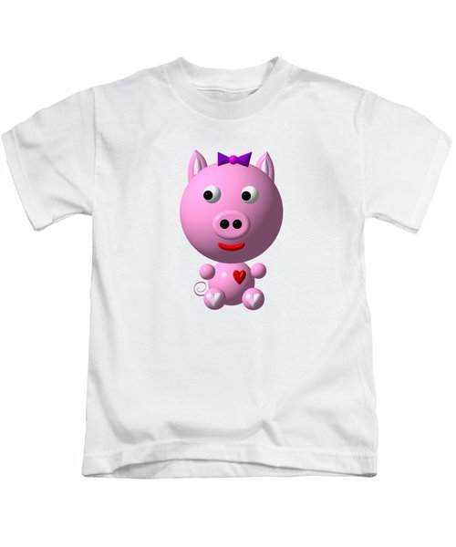 Cute Pink Pig With Purple Bow Kids T-Shirt