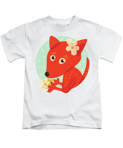 Cute Pretty Fox With Flowers Kids T-Shirt