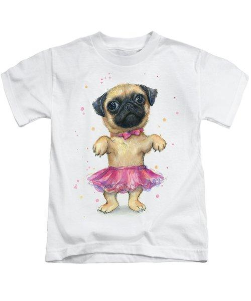 Cute Pug Puppy Kids T-Shirt by Olga Shvartsur