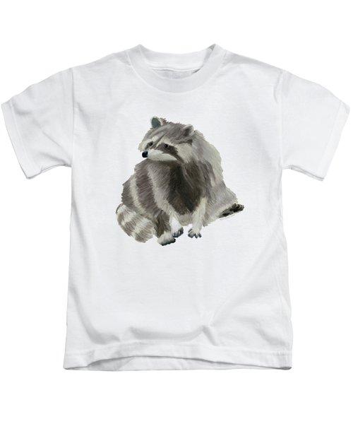 Cute Raccoon Kids T-Shirt by Dominic White
