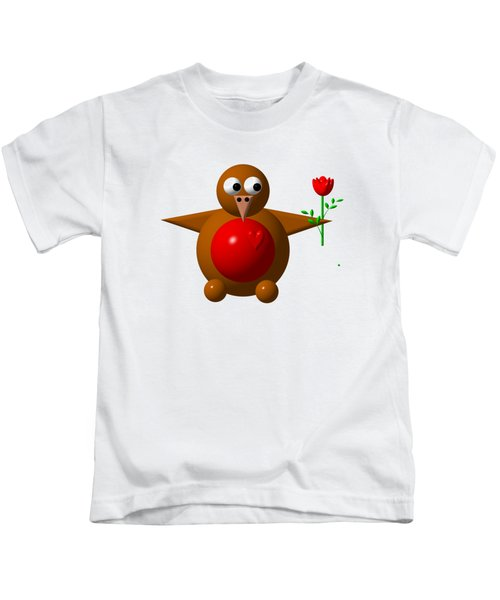 Cute Robin With Rose Kids T-Shirt
