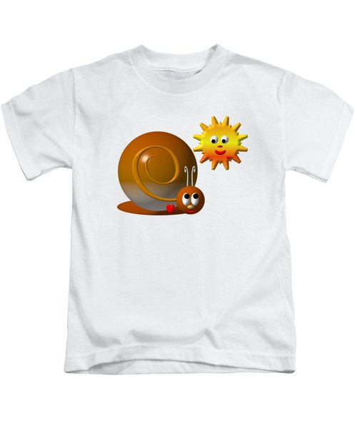 Cute Snail With Smiling Sun Kids T-Shirt
