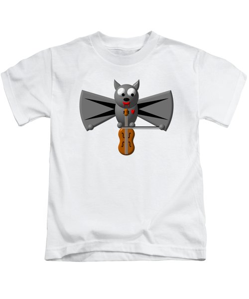 Cute Vampire Bat With Violin Kids T-Shirt